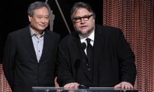 Guillermo del Toro, right, with fellow director Ang Lee at the 2016 Oscars nomination announcements.