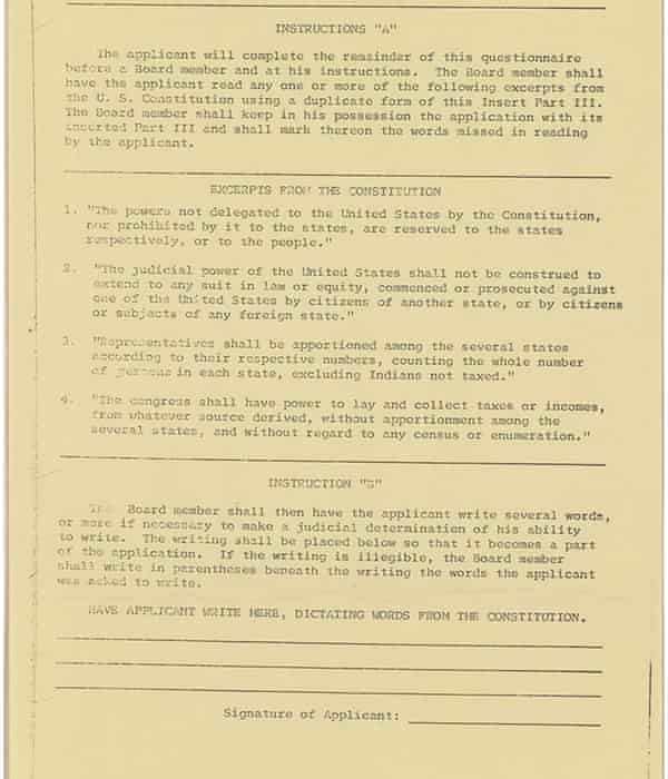 A sample Alabama literacy test used by the NAACP in 1964.