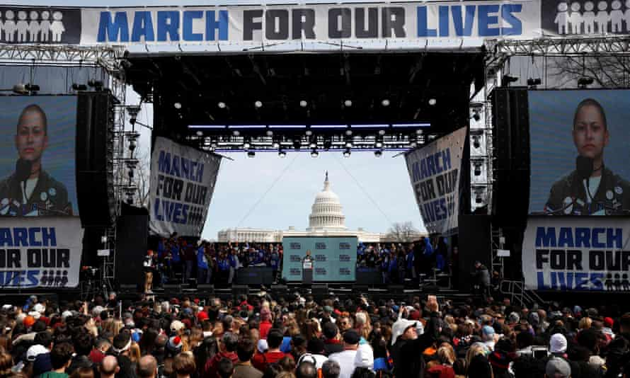 Students and young people gather for the March for Our Lives rally demanding gun control in Washingtonon 24 March 2018.