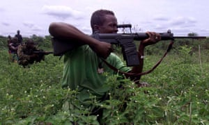 Sierra Leonean government troops during the country's civil war, 2000.