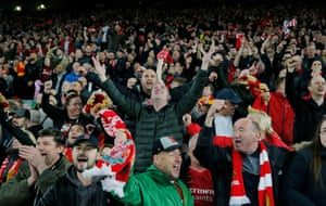 Liverpool fans on the Kop celebrate the remarkable victory