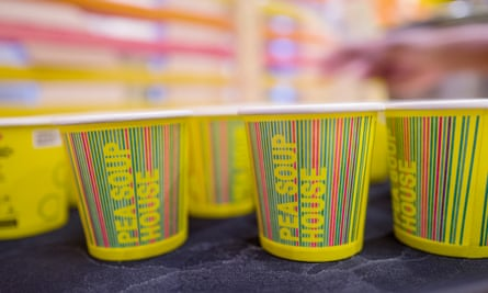 Cups of soup lined up at Pea Soup House, an installation linking soup to air quality.