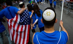 People take part in the Celebrate Israel Parade in New York City. The United States has the world's second-largest Jewish population, at 5.7 million.
