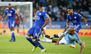 Fabian Delph of Manchester City fouls Ricardo Pereira of Leicester City resulting in him being sent off by referee Mike Dean.