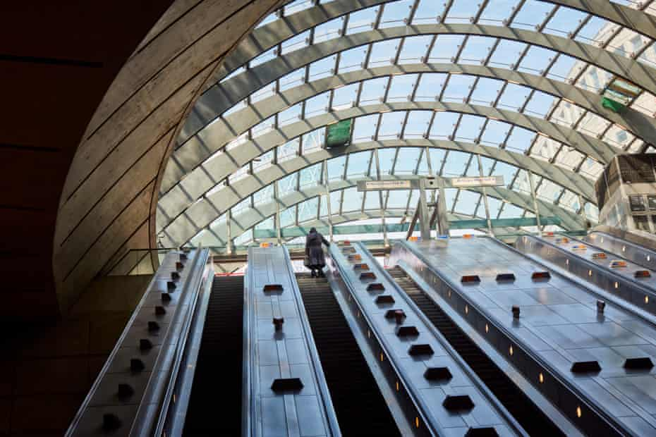 The magnificent glass-domed canopy entrance to Canary Wharf underground