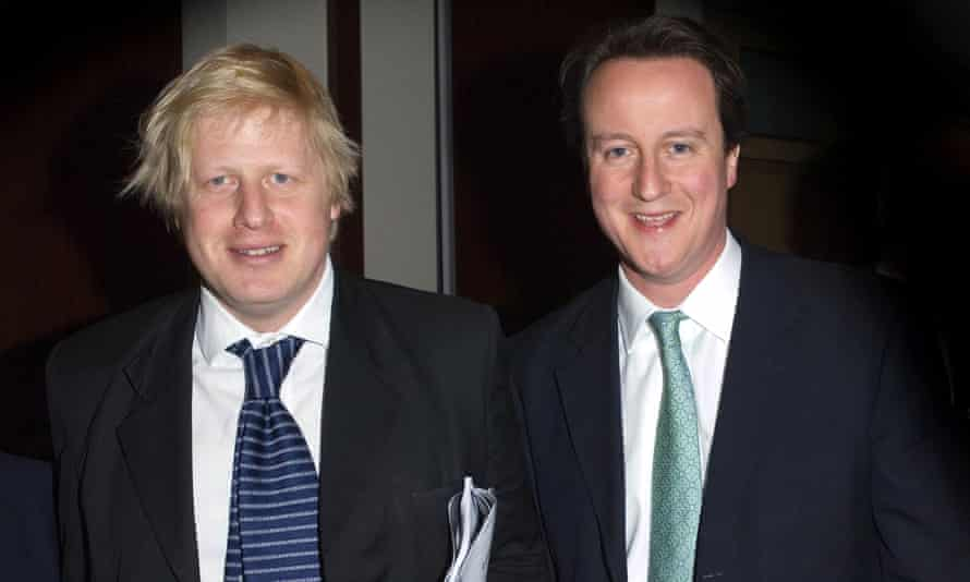 Boris Johnson and David Cameron at a Conservative association dinner in Oxford
