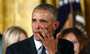 Barack Obama wipes away tears at a White House event on gun control. When legislation failed in 2012, a furious Obama said: 'The gun lobby and its allies willfully lied about the bill.'