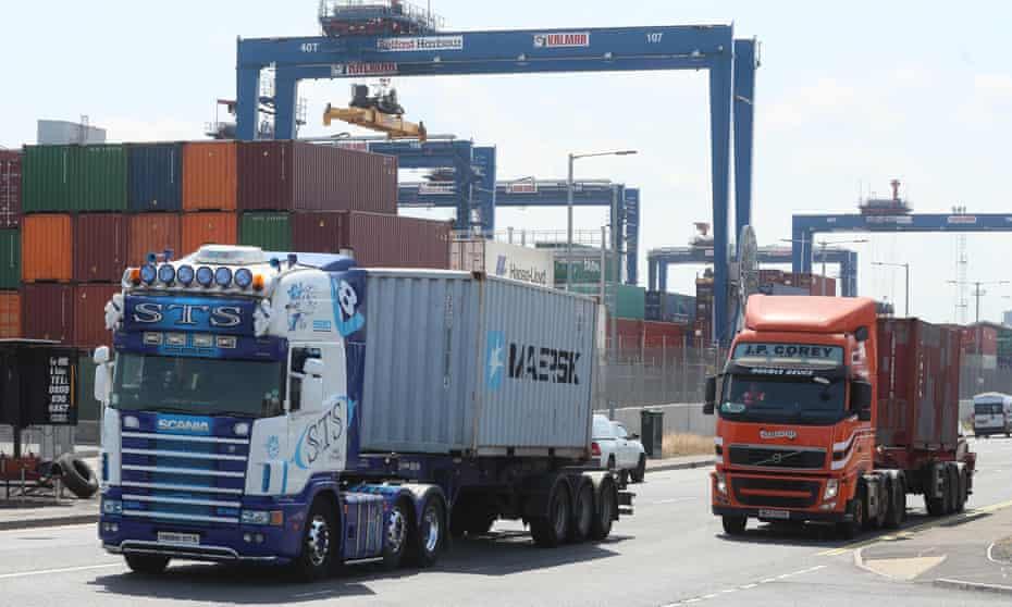 Lorries at Belfast port