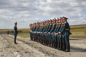 Russian honour guards prepare to take a part in a parade during the Vostok 2018 military drills.
