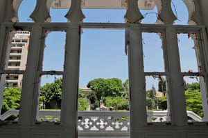 A view from inside the damaged Sursock Museum through empty windows