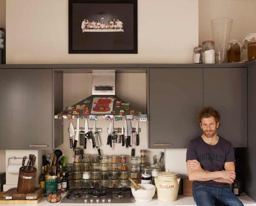 Chef Tom Aiken in his kitchen in Chelsea