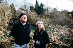 Roanna Burt and Liam O'Connor in the allotment behind their Bristol house