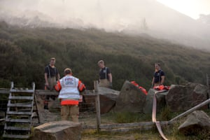 Firefighters at work on Saddleworth Moor