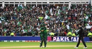 Pakistan's Babar Azam (right) and captain Sarfaraz Ahmed, and the thousands of Pakistan fans in Edgbaston, celebrate their victory.