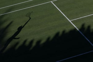 The shadow of a serve at Wimbledon