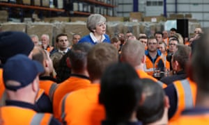 'Party loyalty has broken down irretrievably for Labour.' Theresa May speaks to Screwfix employees in the once safe Labour seat of Stoke On Trent