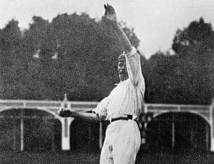 Sydney Barnes demonstrates his bowling action circa 1910.