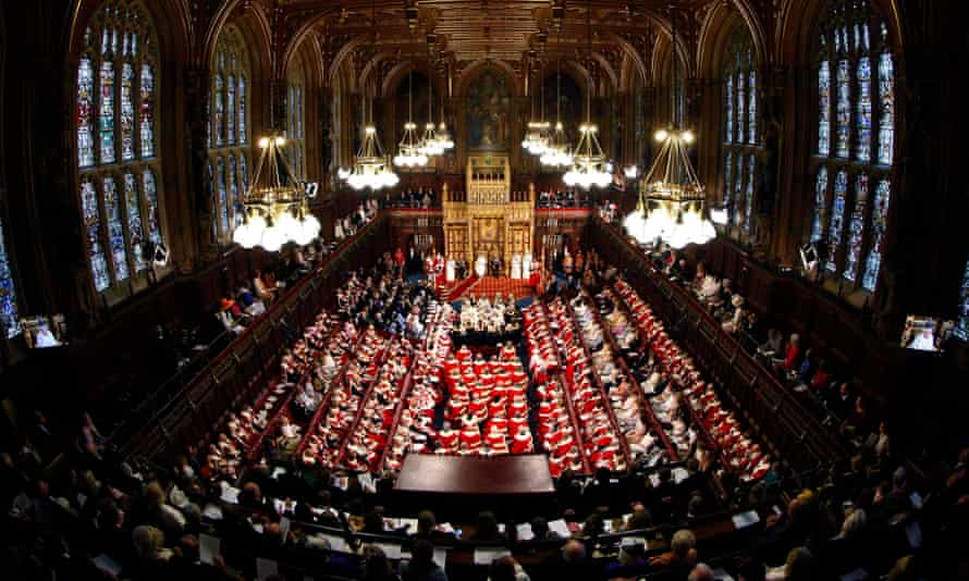 The House of Lords during the state opening of parliament.