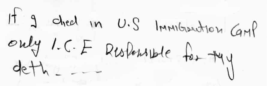 An excerpt of a letter written by an Indian detainee in the first few days of his hunger strike in an El Paso detention center.