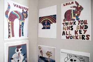 Pictures drawn by young relatives of the residents of St Cecilia's Nursing Home, Scarborough.