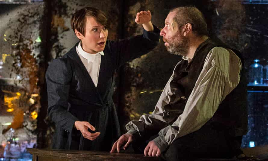 Polly Frame as Dr Frankenstein with Ed Gaughan as the Creature.
