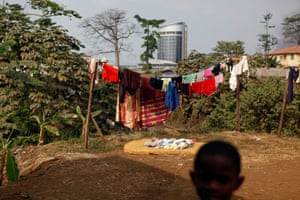 Laundry hangs in a yard in Malabo, Equatorial Guinea