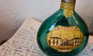 An empty bottle of Mateus rosé and a handwritten lyric sheet is displayed in a recreation of Jimi Hendrix's bedroom.