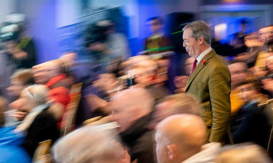 Nigel Farage at a Brexit party rally in Workington, Britain.