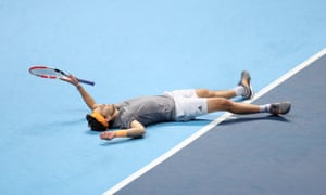 Dominic Thiem reacts after his fantastic performance gives him victory over Novak Djokovic and a place in the semi-final.