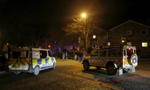 Emergency services and evacuated residents in Tadcaster.