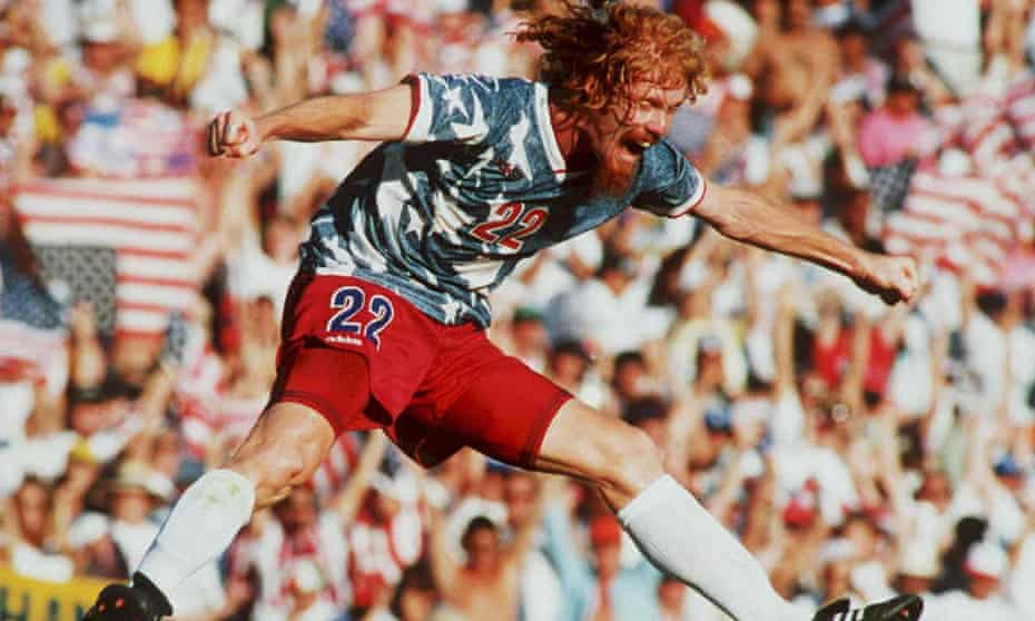 Alexi Lalas jumps in the air 22 June as he celebrates after the US defeated Colombia 2-1 in their World Cup match at the Rose Bowl in Pasadena, California.