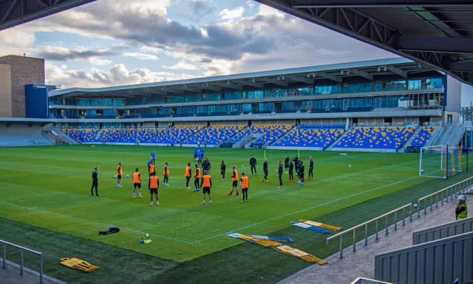 AFC Wimbledon players train at the new Plough Lane ground which will host its first League One game on Tuesday.