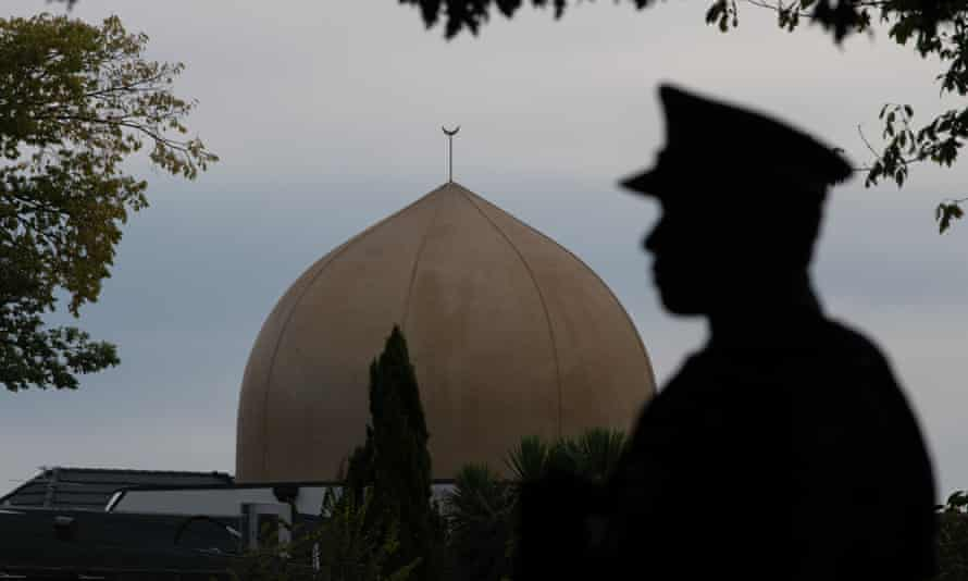 A police officer stands guard near Al Noor mosque in Christchurch after the attack.