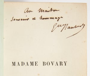 Pierre Bergé's copy of Madame Bovary – with handwritten dedication by Flaubert to Victor Hugo.