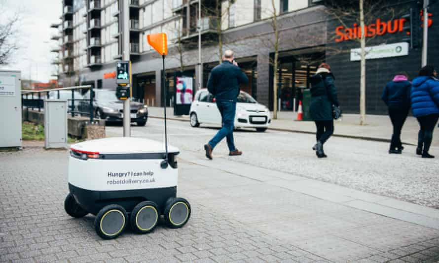 A Starship robot in Milton Keynes. This picture was taken before the government's new guidance on social distancing.