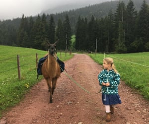 A cute llama makes a country walk much more fun with the writer's daughter