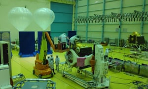 Scientists work on India's lunar mission Chandrayaan-2 in Bengaluru, India. The rocket will be launched on the 50th anniversary of the Apollo 11 moon landing.