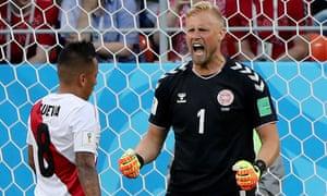Kasper Schmeichel reacts to Peru's missed penalty on Saturday.