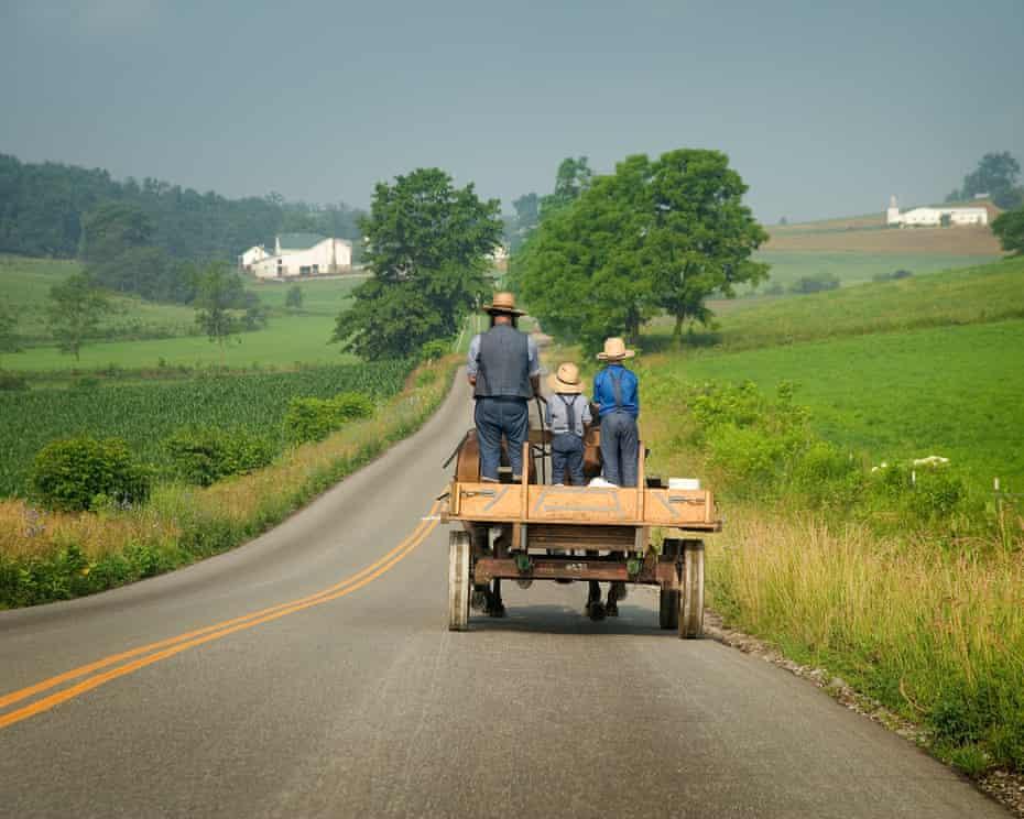 Amish man and children