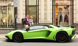 A Lamborghini in Mayfair, London.