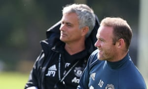 Manchester United coach José Mourinho with his captain Wayne Rooney at training ahead of their first game of the season, away against Bournemouth.