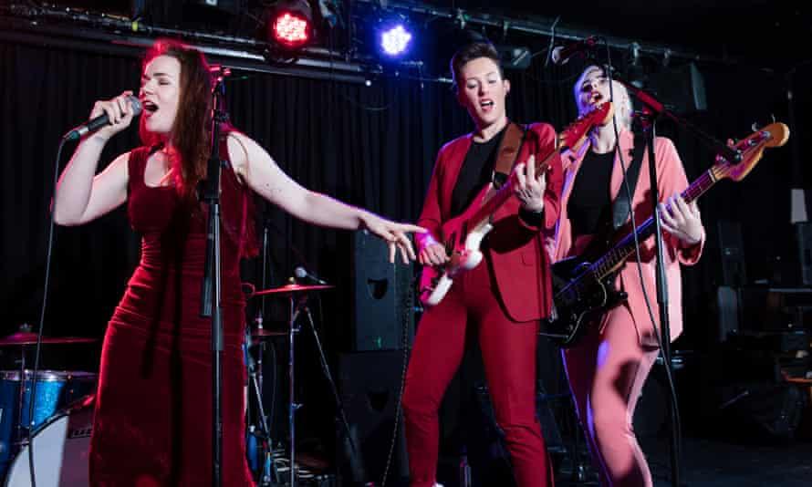 Janey Starling, Anya Perason and Mimi Jasson from punk band Dream Nails perform.
