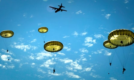 Paratroopers over Normandy jump during the 70th anniversary of D-day operations, in Sainte-Mere-Eglise.