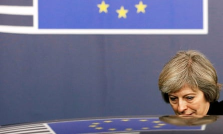 Theresa May leaves the European Council summit