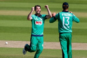 Ireland's Curtis Campher celebrates with Harry Tector after taking the wicket of England's Moeen Ali.