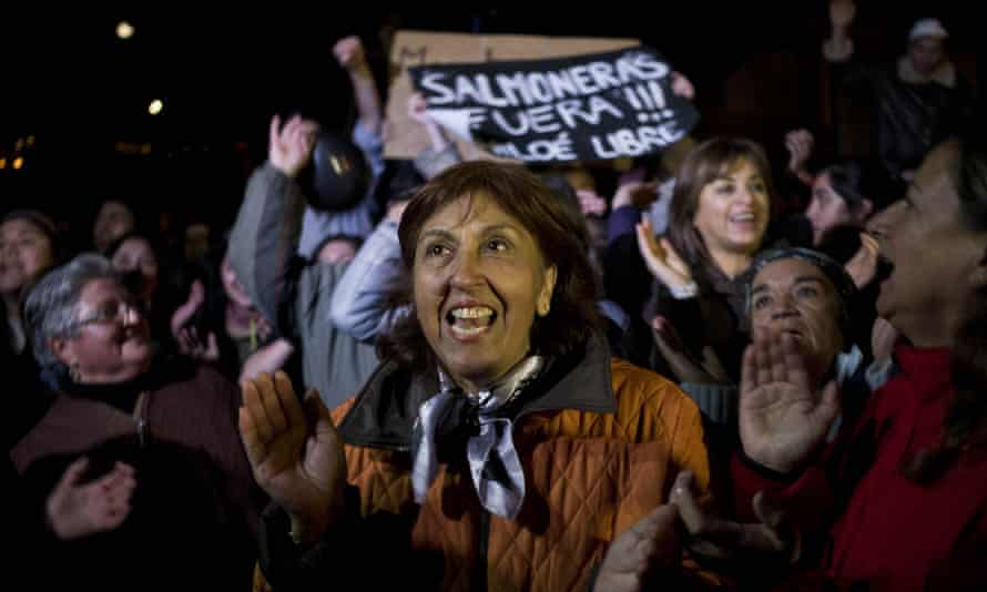 """People shout slogans as they listen to a speech during a protest on Chiloe Island, Chile. The sign in the background reads in Spanish: """"Salmon farms out! Free Chiloe."""" Local residents blame large-scale salmon farms for the algae bloom."""