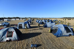 Soldiers from Keswick Barracks in Adelaide set up camp at Kingscote Airport on Kangaroo Island on Monday