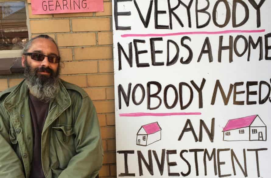 Protestors for public housing at a property in Bendigo Street, Collingwood, Australia, on 7 April 2016.