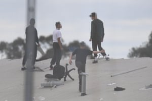 Inmates on the Frank Baxter juvenile justice centre roof.