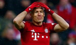 Arjen Robben playing for Bayern Munich in the German Bundesliga.
